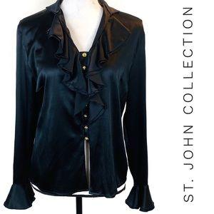 St. John Black Silk Gold Button Up Ruffle Blouse
